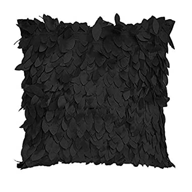 Fallen Leaves Feather Couch Cushion Cover Home Decor Sofa Throw Pillow Case Black