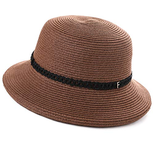 Womens Ladies Summer Sun Beach Straw Bucket Hats UV Protective Outdoor Patio Panama Fedora Packable Foldable Brown -