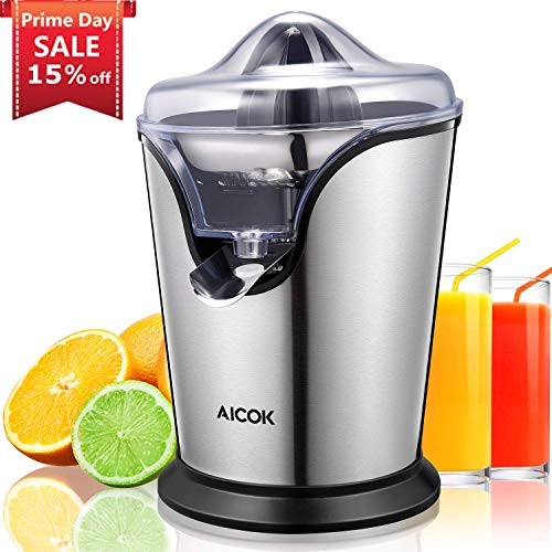 Aicok Electric Citrus Juicer Stainless Steel Orange Juicer Squeezer with 100W Ultra Quiet Motor and Anti-drip Spout, Two Interchangeable Cones Work with All Size of Citrus Fruits (Make Money Have A Lemonade Stand)