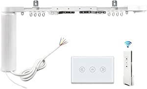 Smart Motorized Slide Shade Motor with Electric Curtain Tracks and Wall Switch easy assembly Support Voice Control by Alexa Google Home Customized App Control (3.2M+US)