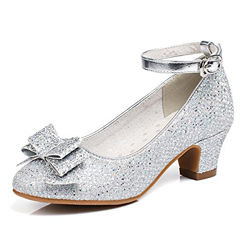 Alicorn Girl's Silver Glitter Low Heel Ankle-Strap Dancing Dress Shoes 1 M US Little Kid -