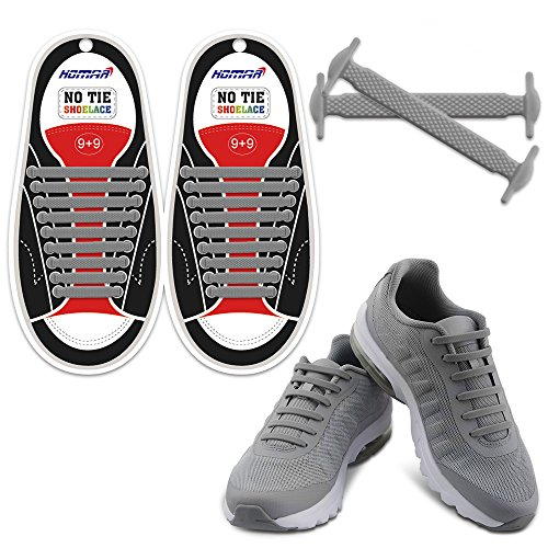 Flexible Bear - HOMAR Waterproof Athletic Shoelaces - Best in Alternative Shoelaces - Rubber Flat Shoe Laces No Tie Shoelace Replacement for Adults - Grey