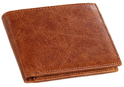 Hereby Kuer(TM) Men's Retro Simple Style Crazy Horse Leather Bi-fold Wallet (Brown)