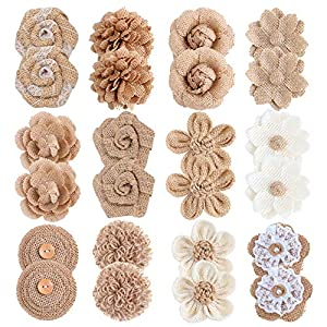 APICCRED 24PCS Burlap Flowers for Crafts 12Styles Natural Handmade Rustic Rose Flower for Burlap Decoration DIY Craft Bouquets Home Wedding Christmas Party Decoration 1