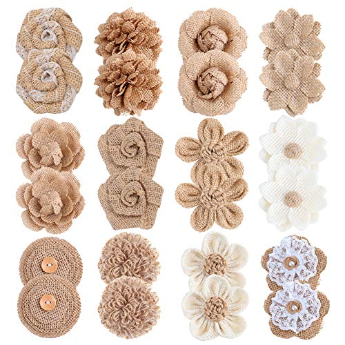 APICCRED 24PCS Burlap Flowers for Crafts 12Styles Natural Handmade Rustic Rose Flower for Burlap Decoration DIY Craft Bouquets Home Wedding Christmas Party Decoration -