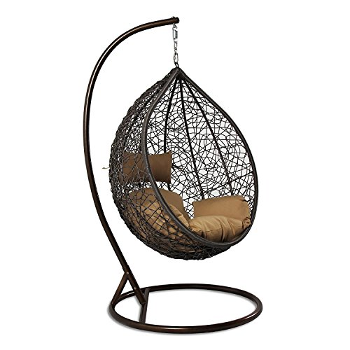 Island Gale Outdoor Brown Wicker Rattan Hanging Swing Egg Chair Hammock with Stand and Cushion (Brown Wicker, Beige Cushion) - Living Room Swing
