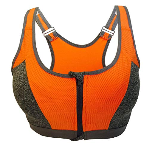 (Uscharm Front Zipper Closure Seamless Wirefree Sports Bra Racerback Yoga Bras with Removable Paddings(Orange,L))