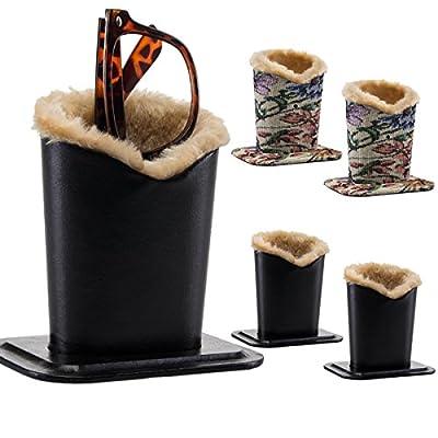 2 Pack Upright Eyeglasses Holder Stand Soft Plush Lining Case Rest For Desktop Car