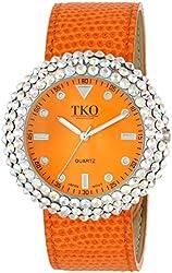 TKO ORLOGI Women's TK618OR Leather Orange Crystal Slap Watch