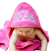 Baby Princess Hooded Towel (Pink), 29  x 29 , Plush and Absorbent Luxury Bath Towel! 600 GSM, 100% Cotton