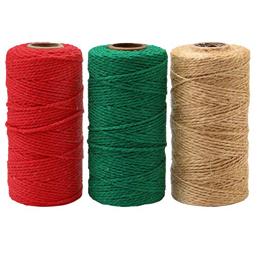 Resinta 3 Rolls 984 Feet Christmas Twine Thick Jute String Rope Cotton Baker Twine for DIY Craft Christmas Gift Wrapping (Green,Red,Natural)