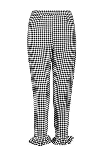 Gingham Pants (Boohoo Womens Petite Bella Gingham Frill Hem Trouser In Multi Size 2)