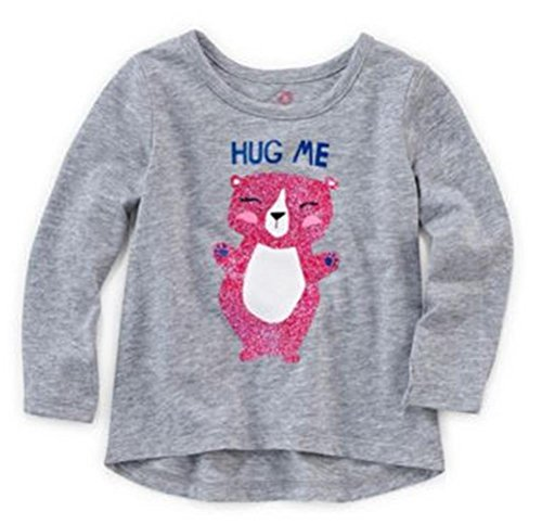 Okie Dokie Baby Girls Graphic Glitter Long Sleeve Tee - Hug Me! (Newborn) (Newborn)