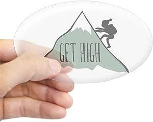 CafePress – Get alta: montaña escalada Oval – ovalada de pegatina para coche adhesivo, transparente, Large - 4.5x7.5
