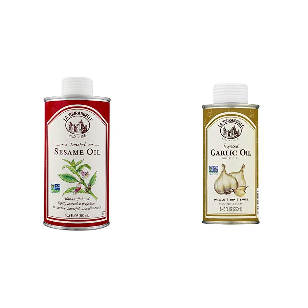 La Tourangelle Toasted Sesame Oil – Rich, Deep, Delicious Flavor – All-natural, Expeller-pressed, Non-GMO, Kosher – 16.9 Fl. Oz. & Garlic Infused Sunflower Oil, 8.5 fl oz