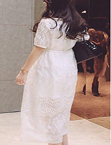 PU&PU Robe Aux femmes Mousseline de Soie Street Chic,Mosaïque Col Arrondi Midi Polyester , white-l , white-l