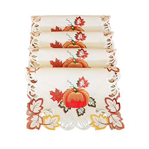 Simhomsen Decorative Thanksgiving Pumpkins Table Placemats (13× 19 Inch Set of 4)