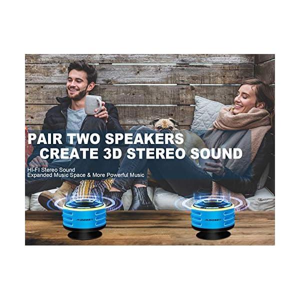 Enceinte Bluetooth, moosen IPX7 étanche Portable sans Fil Haut-Parleur Bluetooth avec FM Radio, LED Display, TWS and Light Show, Waterproof Shower Speaker pour Salle de Bains Pool Plage Outdoor 5