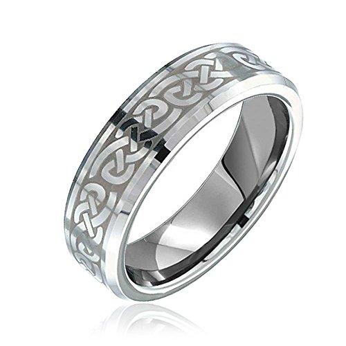 - Bling Jewelry Irish Viking Celtic Infinity Love Knot Couples Wedding Band Tungsten Rings for Men for Women Matte Silver Tone 7MM