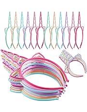 24 Pieces Plastic Unicorn Headbands Unicorn Horn Headband Fancy Dress Cosplay Decoration Supplies for Party (Light Colors)