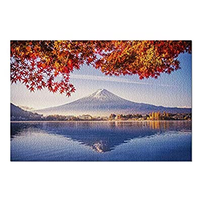 Mt. Fuji, Yamanashi, Japan - Beautiful Reflection of Mountain in Lake Kawaguchi in Fall with Autumn Leaves Overhead 9026404 (Premium 1000 Piece Jigsaw Puzzle for Adults, 20x30, Made in USA!): Toys & Games