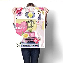 "Anshesix Wall Art Canvas Prints Beautiful Watercolor Hand Drawn Llama Alpaca Happy Birthday Card Layout Template Print Paintings for Home Wall Office Decor 20""x28"""