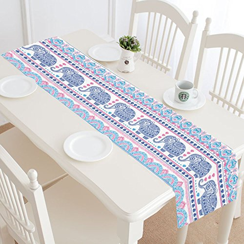 InterestPrint Boho Indian Elephant Louts Polyester Table Runner Placemat 16 x 72 inch, Ethnic Cute Elephants Tablecloth for Office Kitchen Dining Wedding Party Home Decor for $<!--$22.99-->