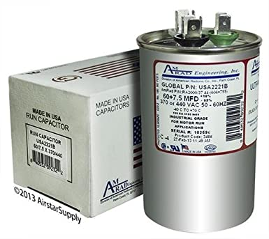 U.S.A Made CAPACITOR OVAL 7.5 uF MFD 370 VOLT VAC