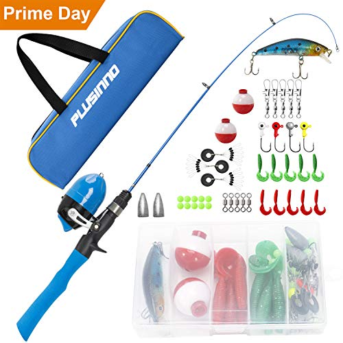 PLUSINNO Kids Fishing Pole with Travel Bag, Telescopic Fishing Rod and Reel Combos with Spincast Fishing Reel Full Kits for Kids,Boys,Youth Fishing (Blue Handle with Spincast Reel, 115CM 45.27IN)