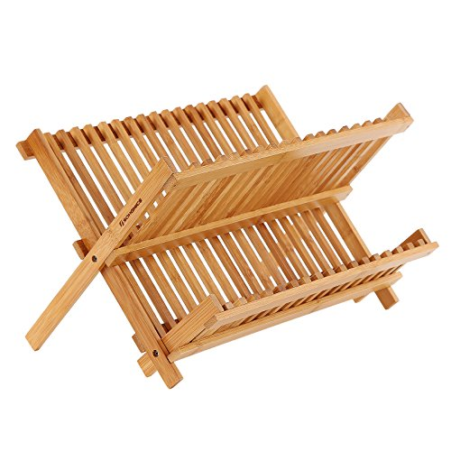 SONGMICS 100% Bamboo Dish Drying Rack,18 Slot Collapsible 2-