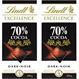Lindt Excellence 70% Cocoa Dark Chocolate - 100 Grams (Pack of 2)