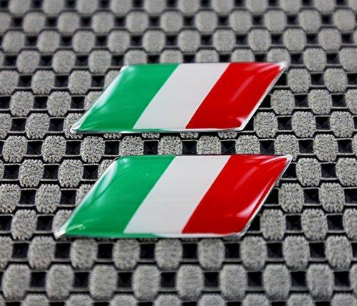 Italia profilo cromato piccolo bandiera set con cupola 3D decalcomania 3D Lettering
