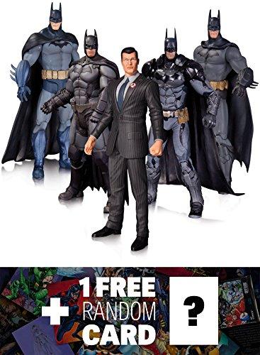 Bruce Wayne (Arkham City), Batman (Arkham Origins, Arkham Knight, Arkham City, Arkham Asylum): DC Collectibles Batman Arkham 5-Action Figure Pack + 1 FREE Official DC Trading Card Bundle (327495)