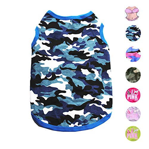 (Alroman Dogs Blue Camo Shirts Pet Dog T-Shirt Puppy Tee Doggie Kitten Vest Clothes for Small Dogs and Cats Dog Camouflage Tank Top for Independence Day Puppy Summer Vacation Apparel Pet Beach Wear)