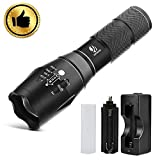 Tactical Flashlight, YIFENG XML T6 Ultra Bright LED Light with Adjustable Focus and 5 Light Modes for Camping Hiking Emergency (Flashlight+Charger)