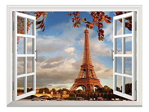 Removable Wall Sticker Wall Mural Eiffel Tower in Autumn Paris France Creative Window View Wall Decor