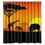 Desert Africa Nature Park Summer Waterproof Polyester Fabric Bathroom Shower Curtain 66'' x 72''