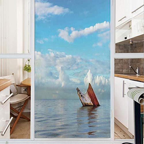 - Decorative Window Film,No Glue Frosted Privacy Film,Stained Glass Door Film,Sunken Ship on Surface of Freshening Sea View with Cloudy Weather Nobody Print,for Home & Office,23.6In. by 78.7In Blue Whit