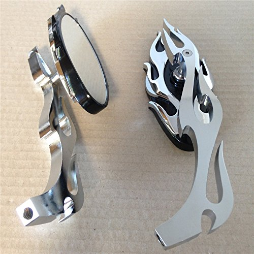 Motorcycle Flame style rearview mirror for any cruiser chopper custom Chrome