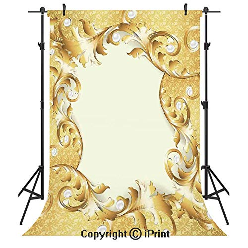 Pearls Photography Backdrops,Illustration of a Frame with Ornaments and Pearls Baroque Style Floral Patterns,Birthday Party Seamless Photo Studio Booth Background Banner 3x5ft,Cream Golden