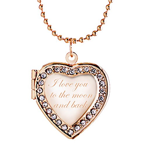 Latigerf I love you to the moon and back Heart Locket Necklace Engraved Pendant Photo Rose Gold Plated ()
