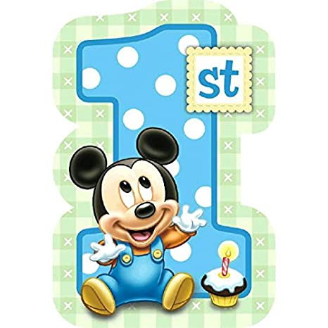 Baby Mickey Mouse 1st Birthday.Amscan Disney Baby Mickey Mouse 1st Birthday Invitations Blue