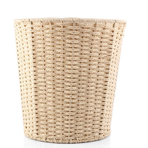 - PeleusTech® Woven Trash Can Wastebasket Garbage Bin Lidless Waterproof Rubbish Can for Bedroom, Kitchen, Bathroom or Office - (Khaki)