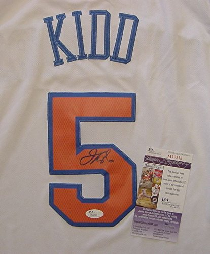 cb2a68f02bb Image Unavailable. Image not available for. Color  Jason Kidd New York  Knicks Autographed White  5 Jersey ...