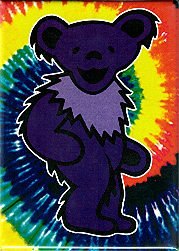 (Grateful Dead - Purple Jerry Bear on Tie Dye Background - Refrigerator Magnet)