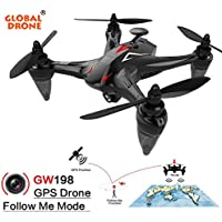 Fiaya GW198 120° Wide-angle HD Camera 5G WIFI Follow Me 6-Axis Ray Brushless Motor RC Quadcopter (Red)