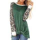 Sinzelimin Women's Casual O-Neck Leopard Long Sleeve T-Shirt Tops Twist Knot Front Tunics T Shirt Green