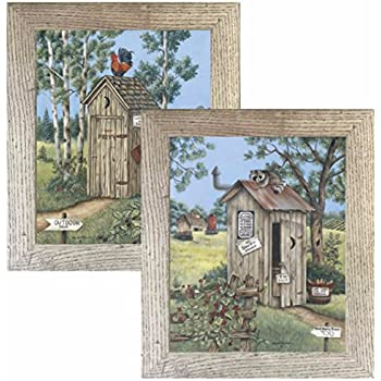 2 framed country outhouse prints outdoor privy for Bathroom paintings amazon