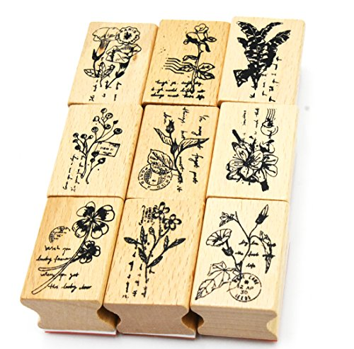 Youkwer 9 Pcs Classical Plants and Flowers Style Beautiful Wooden Rubber Stamps DIY Diary Scrapbook Stamps Set(Set of 9 Different Plants)