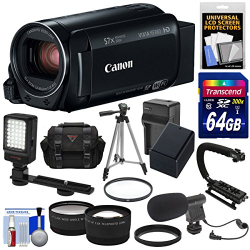 Canon Vixia HF R80 16GB Wi-Fi 1080p HD Video Camera Camcorder with 64GB Card + Battery & Charger + Case + Tripod + Stabilizer + LED + Mic + 2 Lens Kit by Canon